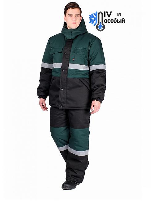 Костюм зимний Профи-Норд (Смесовая, 250) п/к, черный/зеленый