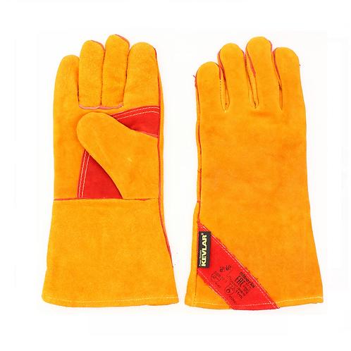 Краги спилковые желтые с красным усилением с подкладкой нить Кевлар (тип СИБИРЬ)