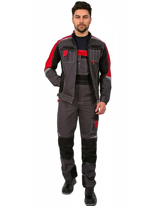 Костюм Формула (тк.Смесовая,240) брюки, серый/красный/черный