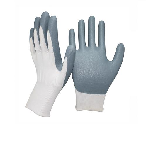 Перчатки нейлоновые со вспененным нитриловым покрытием, бело-серые