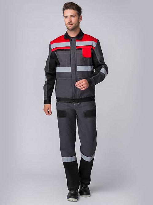 Костюм Виват-2 Премиум (тк.Смесовая,240) п/к, серый/черный/красный