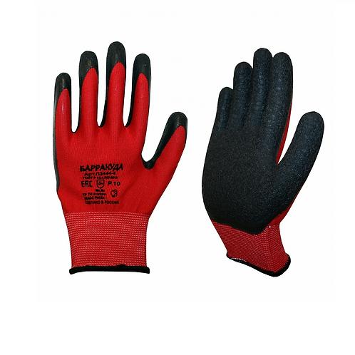 Перчатки Орион РТИ™ БАРРАКУДА (нейлон+рельефный латекс), красный/черный