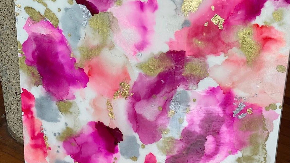 Pink alcohol ink 36x36