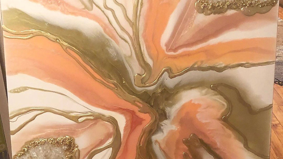 Coral, rose gold, gold and pearl with crystals geode 36x36