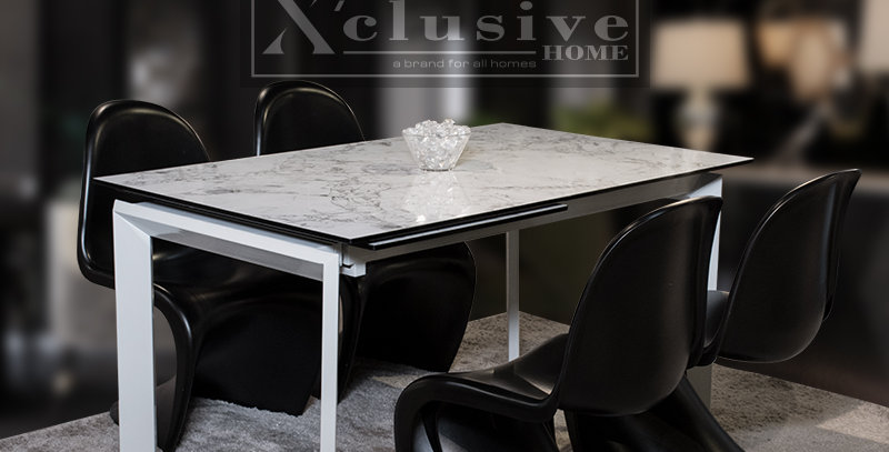Whelan Extendable Marble Top Dining Table 1+4 Sets