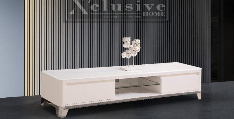 Sadia Glass Top TV Console Drawer White