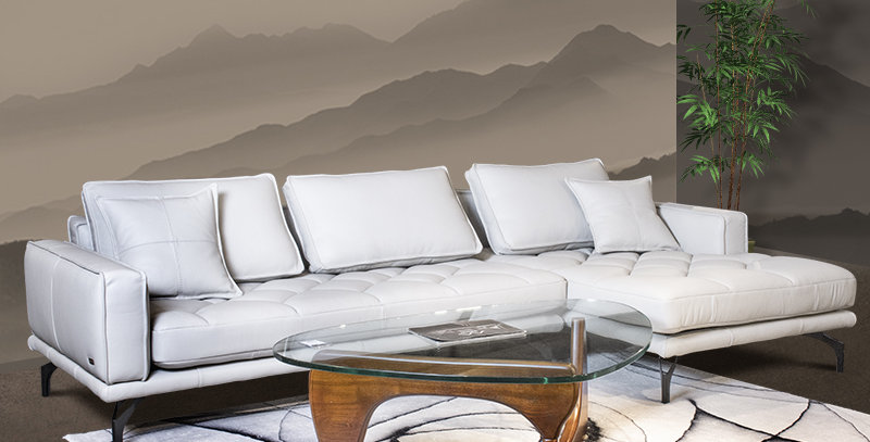 Nunzio Italian Full Leather Sofa White