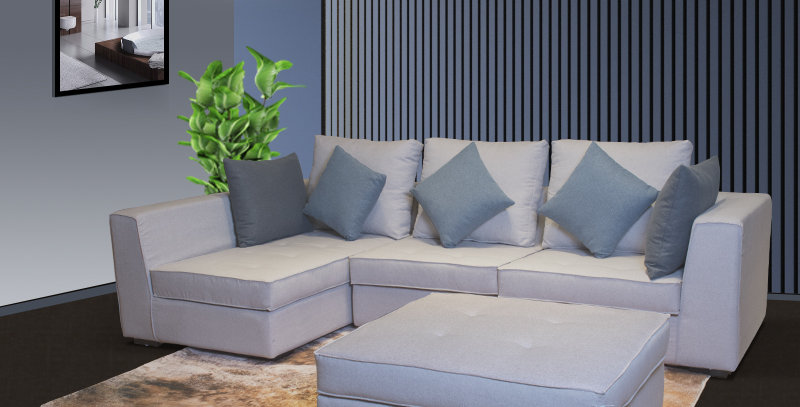 Dyer Belgium Fabric Sofa with Ottoman Light Grey