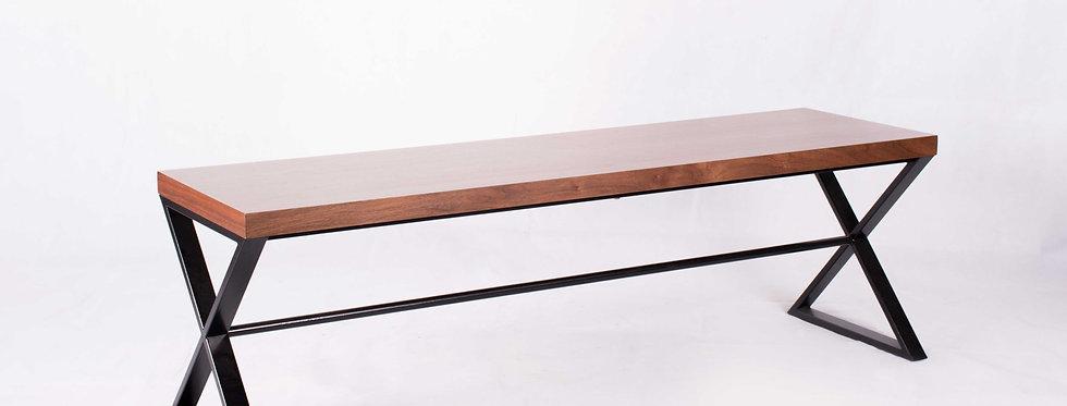 X_DC0035 Wooden Long Bench Dining Chair Metal Frame Leg