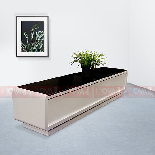 Ariana Glass Top TV Console White and Top Black