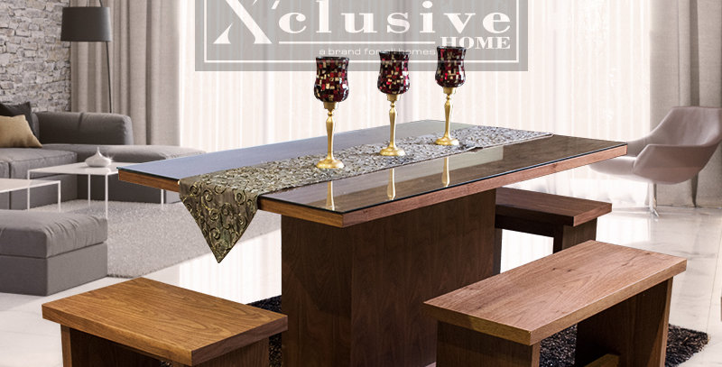 Riley Glass Top Wooden Dining Table
