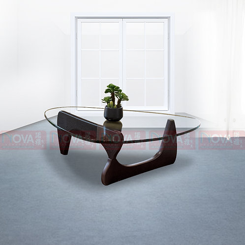 Ortega Glass Top Wooden Coffee Table
