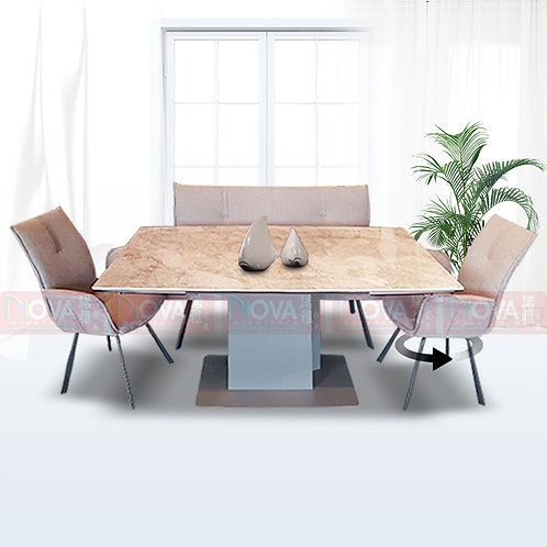 Harvey Extendable Marble Top Dining Table 1+4 Set