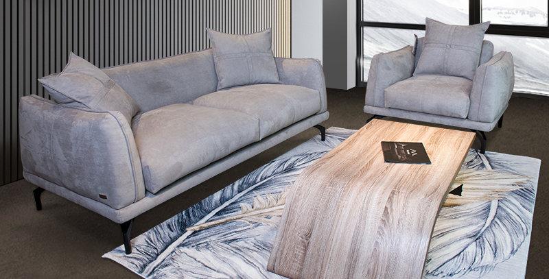 Osian Italian Designer Leather Sofa Set