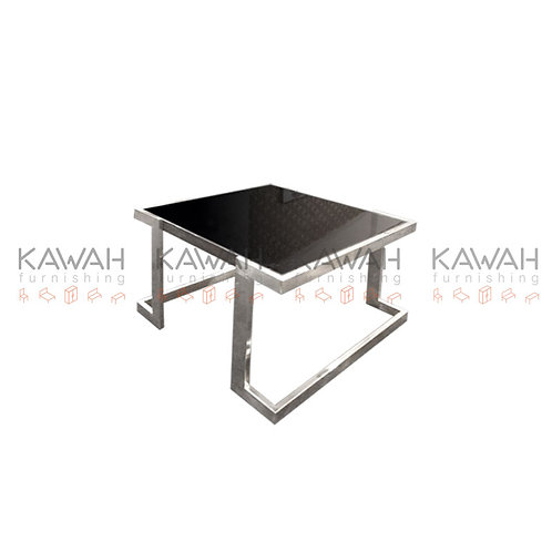 Dodson Black Glass Top Steel Frame Coffee Table