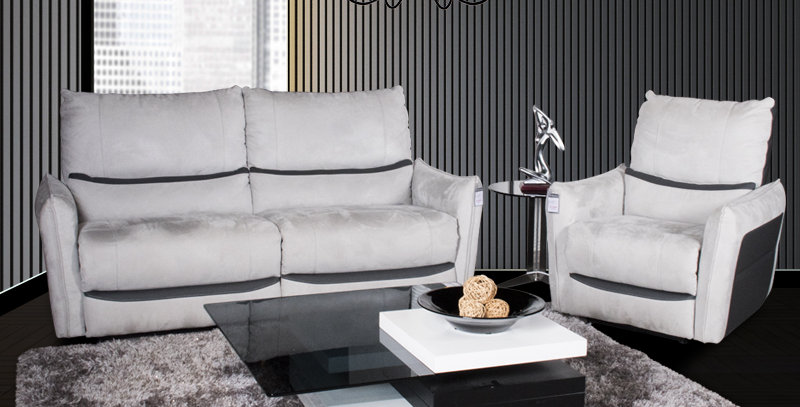Nolan Leather Sofa Recliner Grey