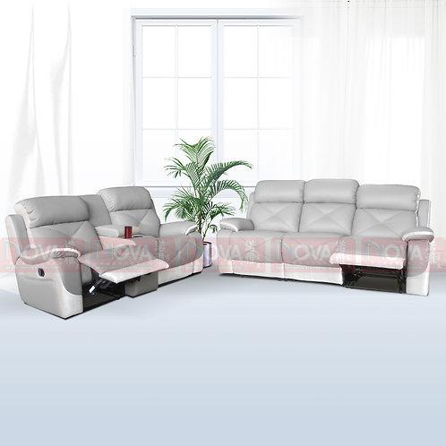Nuazar Full Leather Sofa Recliner 3+2 Set