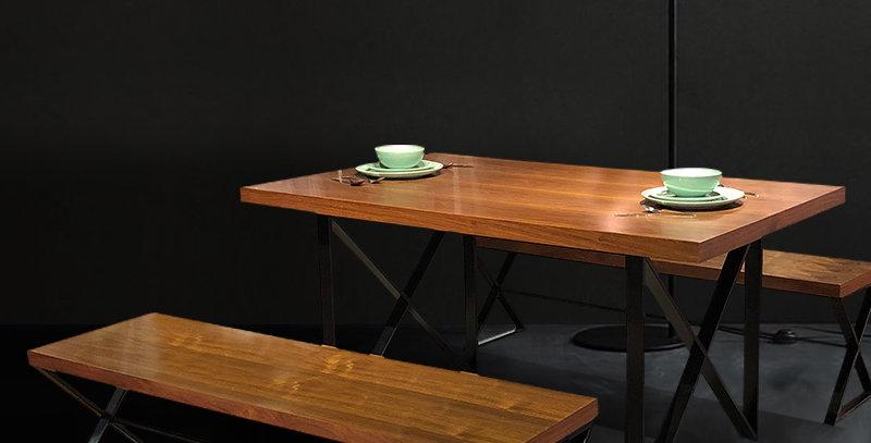 Veneer Wooden Dining Table Metal Frame Legs