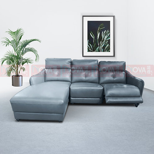 Abida Leather Sofa L-Shape Recliner