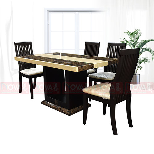 Celia Marble Top Dining Table 1+4 Set
