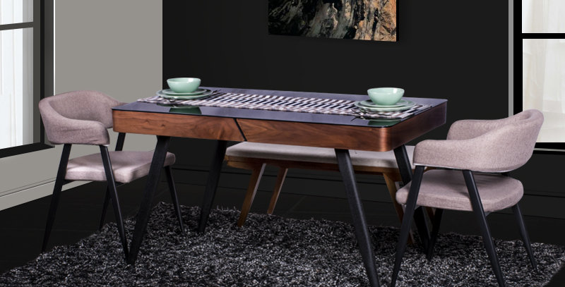 Roshan Glass Top Wooden Dining Table