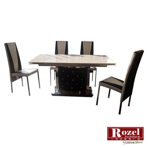 Henry Marble Top Extendable Dining Table Rozel Furnishing
