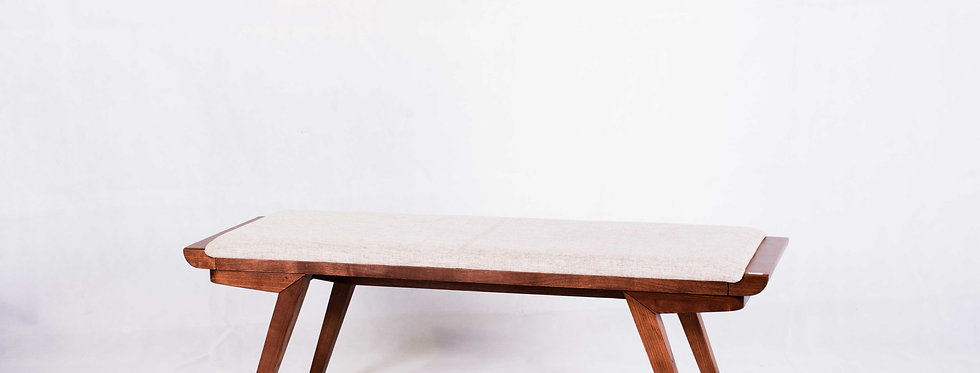 X_DC0030 Fabric Seat Top Wooden Long Bench Dining Chair
