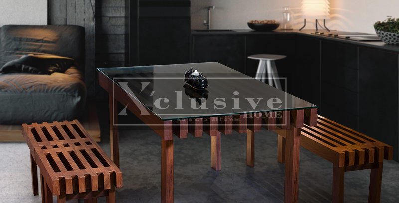 Jagoda Glass Top Wooden Dining Table Set