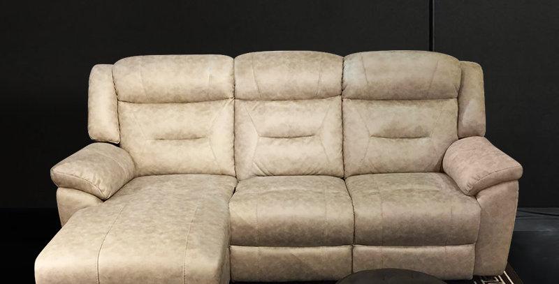 Glitter Full Leather Sofa L-Shape Recliner