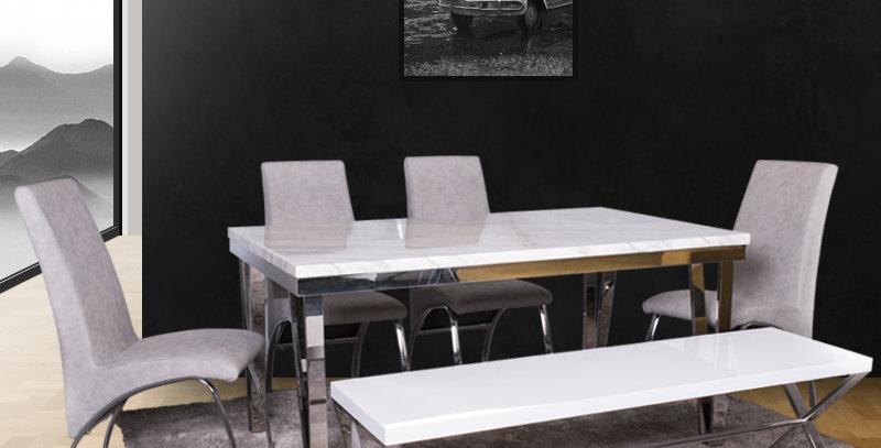 Beverley Marble Top Dining Table 1+4 Set Metal Leg