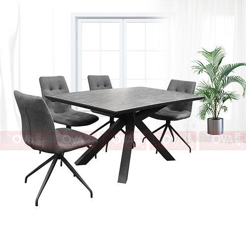 Barron High Gloss Marble Top Dining Table 1+4 Set