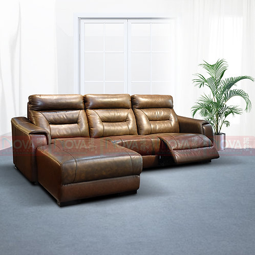 Shiloh Genuine Leather Sofa L-Shape Recliner