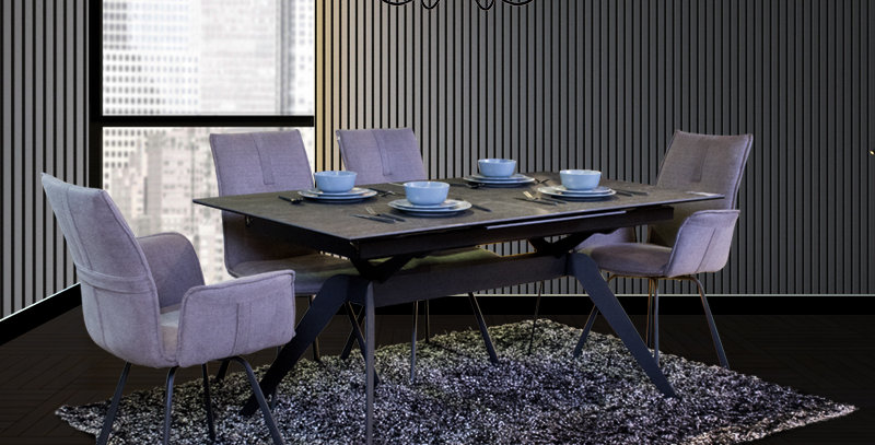 Cally Extendable Dining Table 1+4 Set