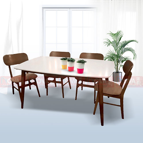 Mebel Solid Wood Dining Table 1+4 Set