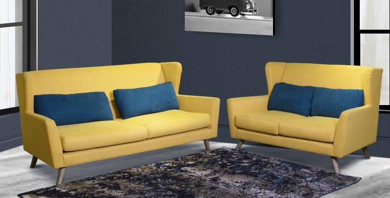 Levi Belgium Fabric Sofa 3+2 Set Yellow