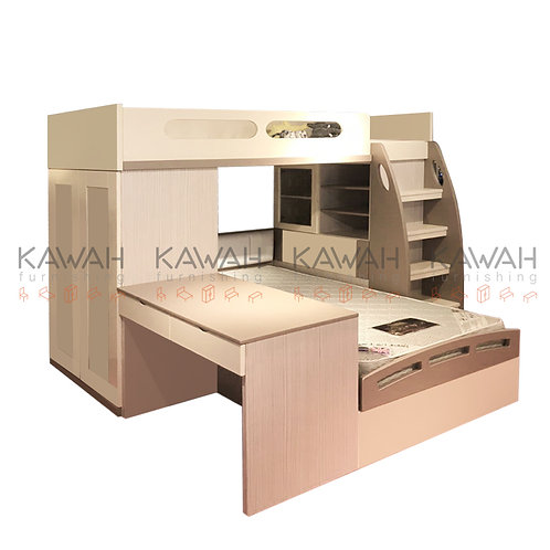 Silverma Children Bed with Study Table and Wardrobe