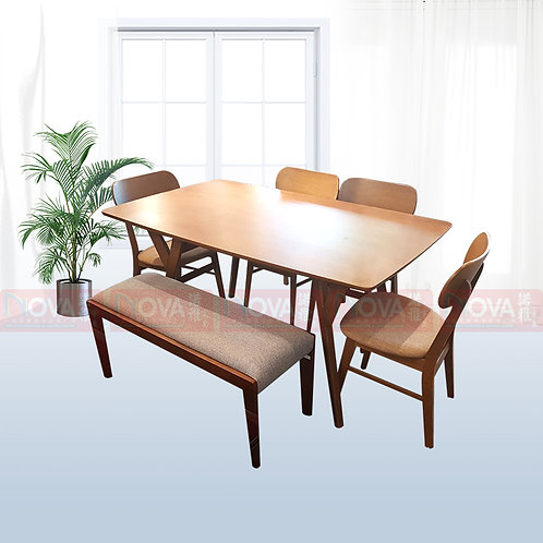 Marcie Wooden Dining Table 1+4 Set