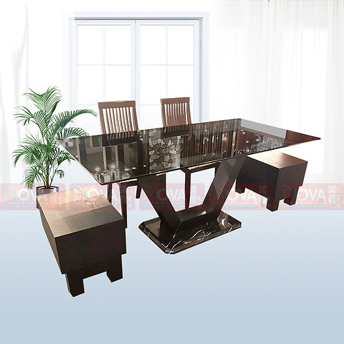 Merlin Tempered Glass Top Dining Table 1+4 Set