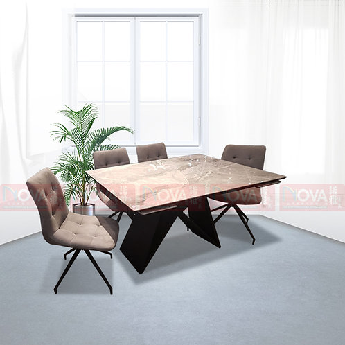 Chiffon Extendable Marble Top Dining Table 1+4 Set