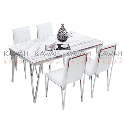 Donna Marble Top Dining Table Set