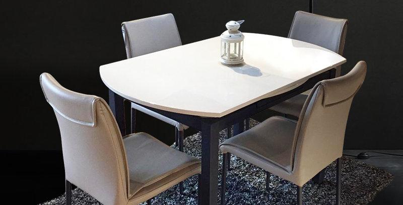 White Sand Matt PVD Coding Extendable Dining Table 1+4 Set