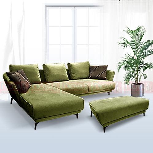 Marshalltwinkle Belgium Fabric Sofa with Ottoman Green