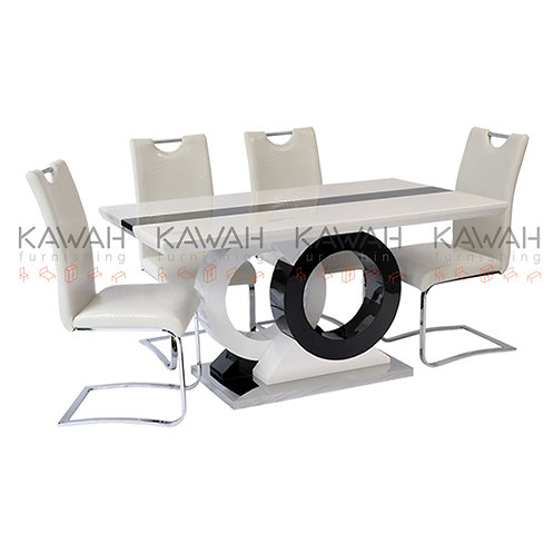 Scarlet Marble Dining Table Set White