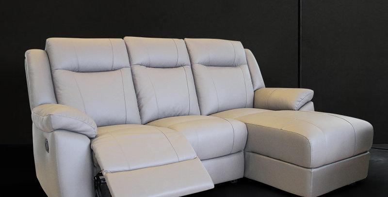 Rainvan Italian Leather Sofa L-Shape Recliner