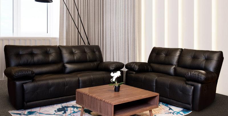 Wilma Italian Leather Sofa Recliner 3+2 Set Black