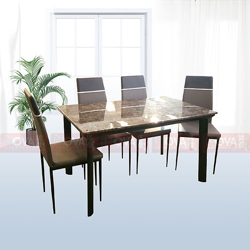 Melvin Marble Top Dining Table 1+4 Set
