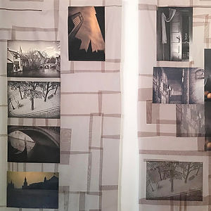 The Empty City & Caged Bird, Digital Images on Kimono Silk by Leonie Castelino & Dustan Osborn