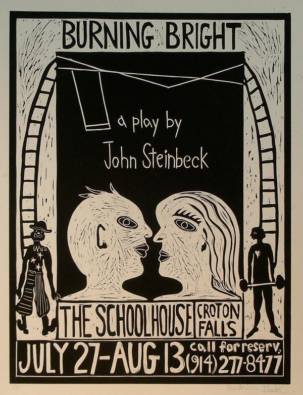 """Poster for Steinbeck's Play """"Burning Bright"""" by Gert Mathiesen & Pam Smilow"""