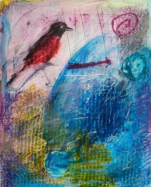 #16 Red Bird, a pastel by Elaine Forrest