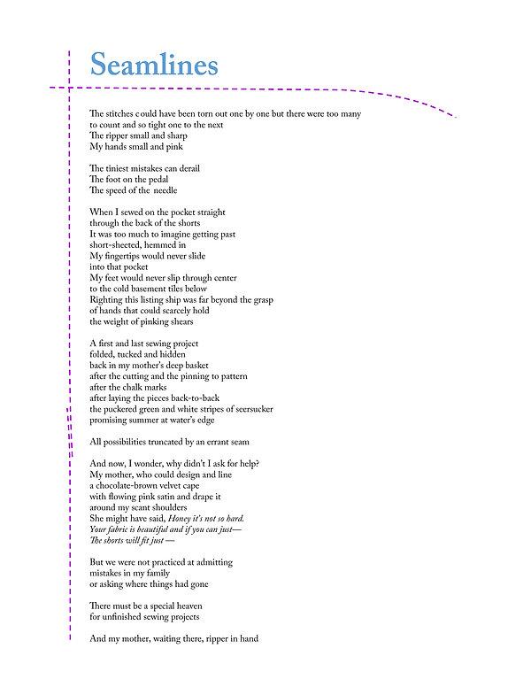 Seamlines, a poem by Moira Trachtenberg